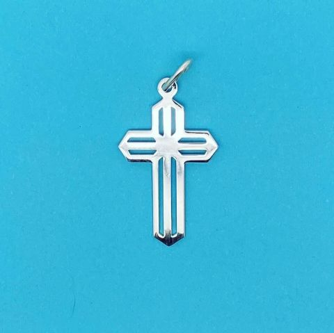 Genuine 925 Sterling Silver Jesus Christ Cross Pendant With Stripe Detail